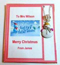 Christmas Snowman Necklace Thank you Gift for Teachers on Personalised Card