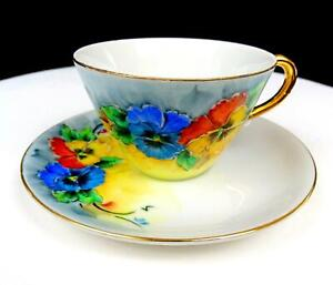 JAPANESE-PORCELAIN-ELSIE-SEES-SIGNED-MULTICOLOR-FLORAL-2-1-4-034-CUP-AND-SAUCER