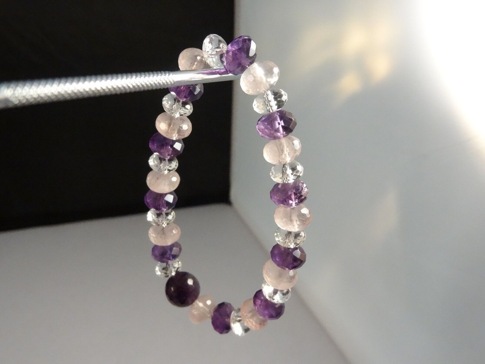 NEW AAA QUALITY  Amethyst pink Clear Quartz Facet Bead Gemstone Stretch Bracelet