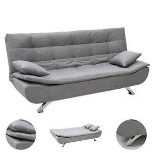 Sofa divano letto clic clac Reclinabile in tessuto Grigio 3 posti con 2 cuscini