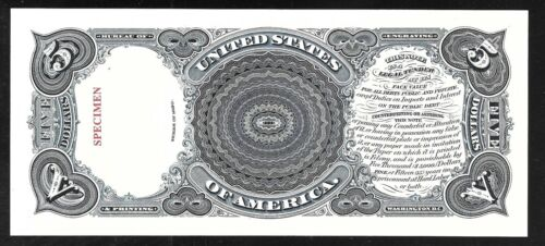 Proof//Specimen Print by the BEP Back of 1880  $5.00  US Note