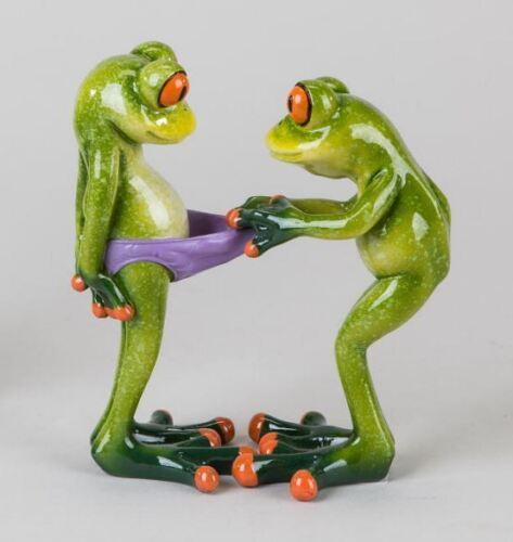 717719 Frosch Paar Lustig hellgrün 14cm aus Kunststein mit witzigen Details