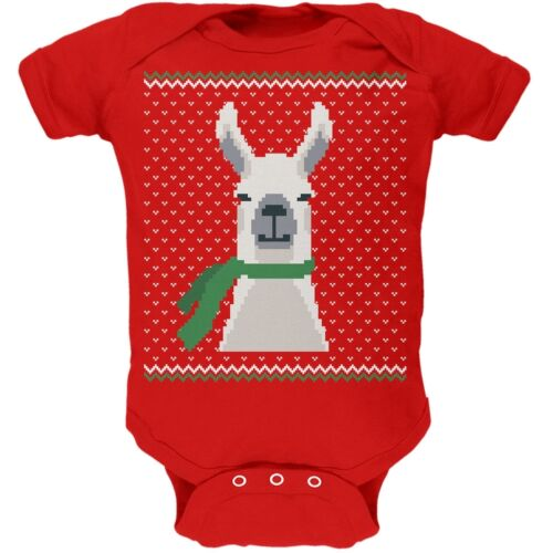 Ugly Christmas Sweater Big Llama Red Soft Baby One Piece