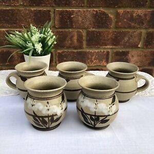Set-of-6-x-Vintage-Hand-Made-Rustic-Studio-Pottery-Mugs-Cups-70s-80s-Cottagecore