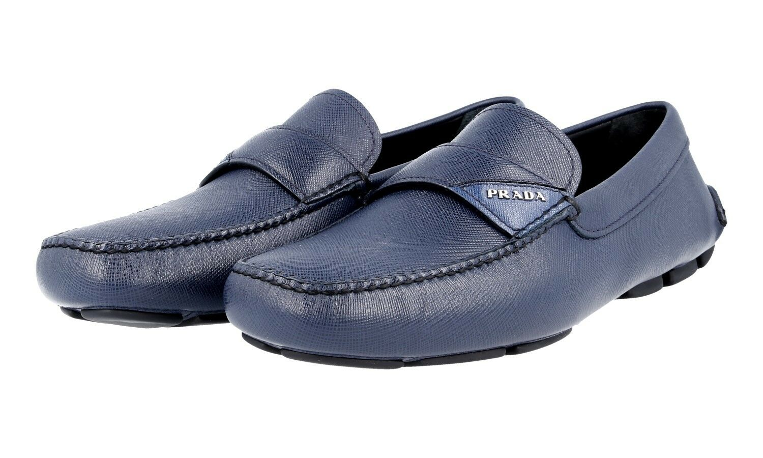 LUXUS PRADA SAFFIANO SLIPPER LOAFER SCHUHE 2DD125 BLAU NEU NEW 9,5 43,5 44