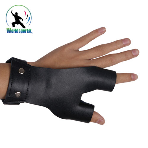 left //right Hands Cow Leather Arrow Glove Bow Finger Hand Guard Archery Hunting