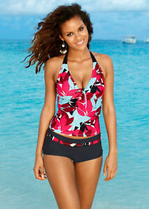 women two piece vintage tankini set swimwear top+short plus size