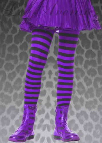 Childrens Black and Purple Striped Tights