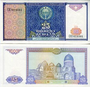 Boy-Uzbekistan-25-Sum-Banknote-1994-P-77-Cash-FRESH-UNC