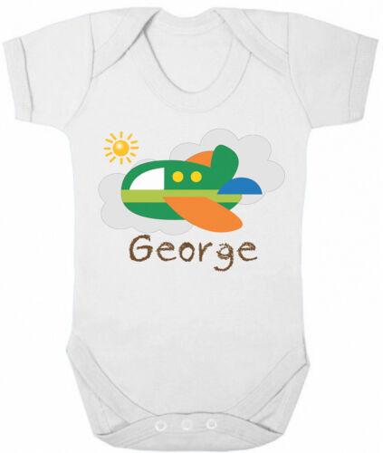 Personalised BABY GROW Boys Name AEROPLANE Flight Funny Bodysuit Baby Shower Gif