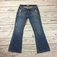 Womens BKE Denim Starlite Jeans Distressed Destroyed Flare Size 27 x 29 1/2 USA