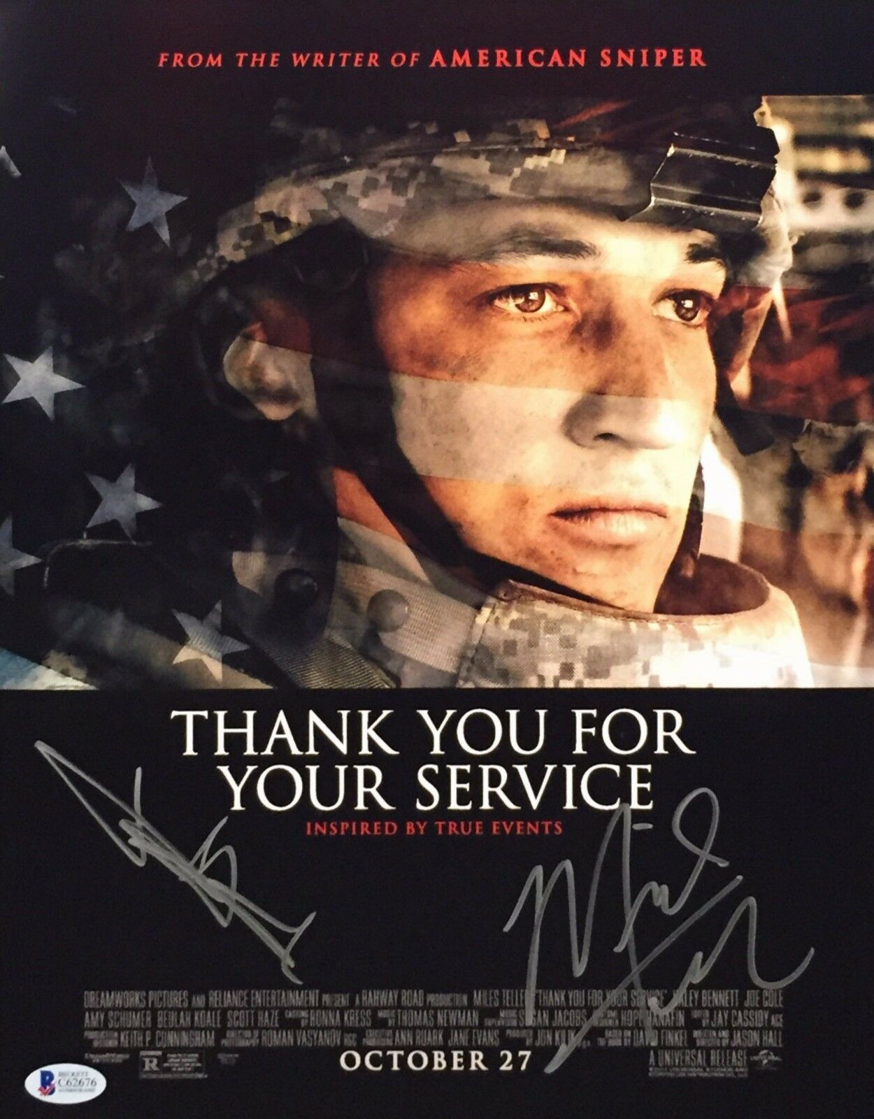 Jason Teller & Miles Teller Signed 'Thank You For Your Service' 11x14 Photo BAS