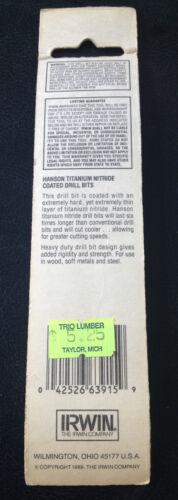 "HANSON DRILL BIT 15//64/"" Titanium Nitride Coated IRWIN 63915 INDUSTRIAL QUALITY"