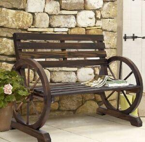 Wooden Wagon Wheel Bench Garden Loveseat Rustic Outdoor Park 2 Person Park
