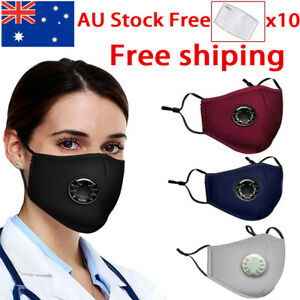 Washable Reusable Cotton Fabric Face Mask With Valves & 10X Free PM2.5 Filters