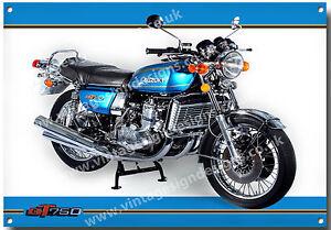 SUZUKI GT 750 MOTORCYCLE METAL SIGN.VINTAGE SUZUKI MOTORCYCLES.CL<wbr/>ASSIC BIKES.blu