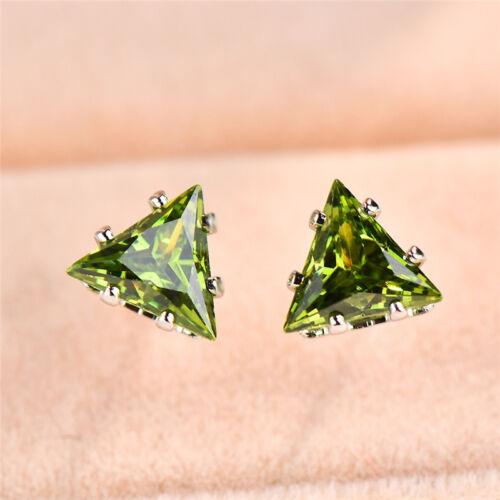 Elegant 925Silver Triangle Cut Blue Sapphire Stud Earrings Wedding Party Jewelry