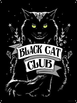 Tin Sign Black Cat Club 30.5x40.7cm
