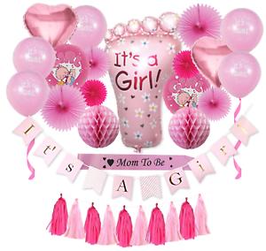 Complet Premium 31 pièces Baby Shower Décorations Pour Filles Rose Baby Shower Décoration