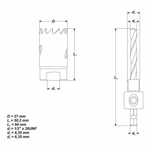Ø 27 mm HSS BiM Lochsäge Bohrkrone mit Zentrierbohrer für Metall Holz Inox
