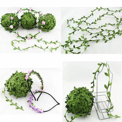 10m Olive Green silk satin leaf ribbon Garland Artificial Flower Home Decor Hot