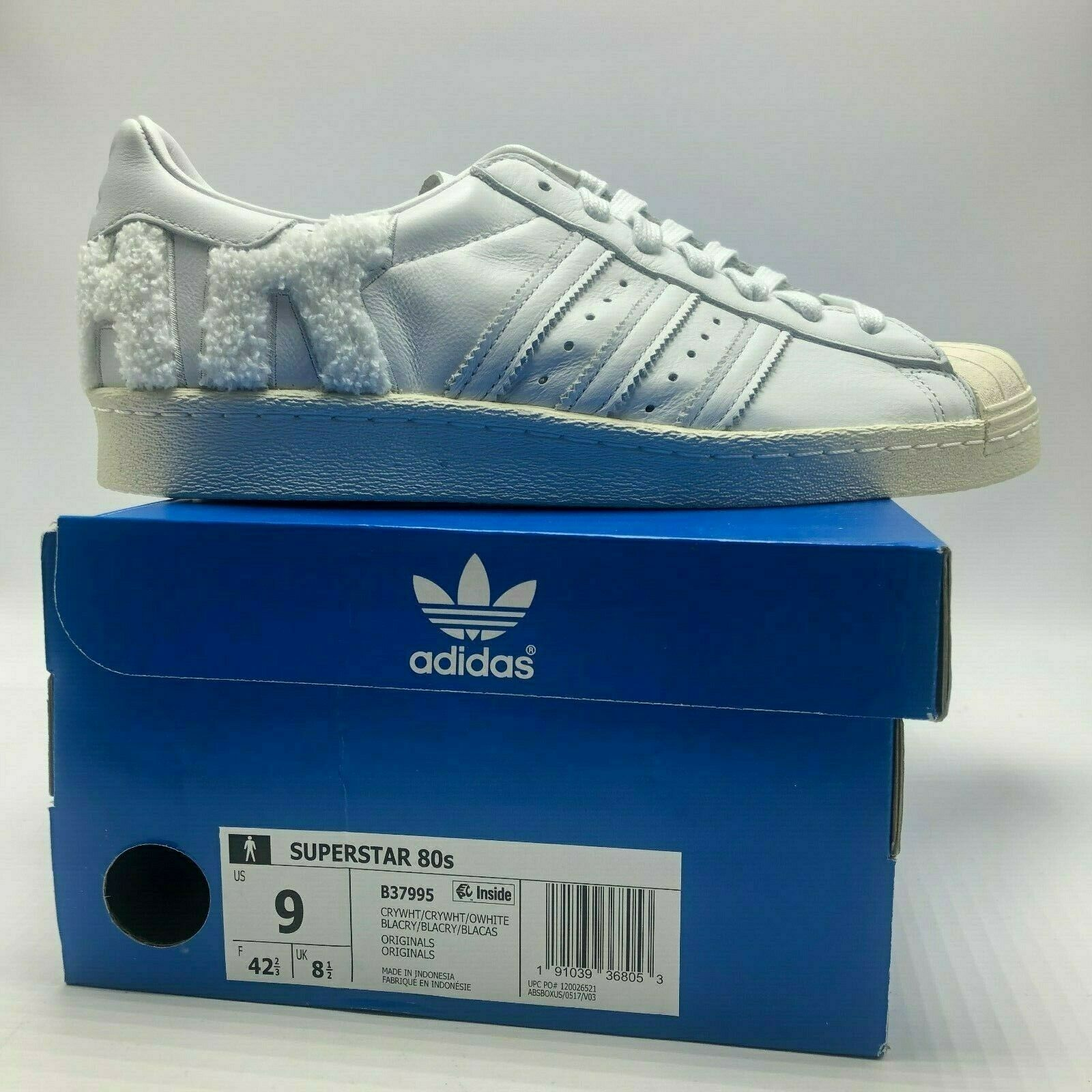 NEW MENS ADIDAS SUPERSTAR 80s WHITE (B37995), SZ 9 -12, 100% AUTHENTIC