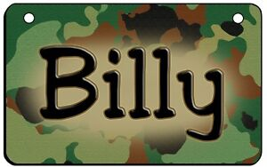 """Camouflage Camo Bicycle License Plate Personalize Name 2.75"""" x 4.5"""" Metal Army"""