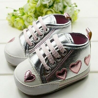 Toddler Baby Girl Cute Silver Crib Heart Walking Soft Sneaker Shoes 0-18 M