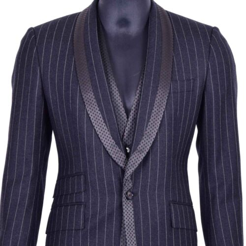 grigio 06921 a Dolce lana righe 3 Gabbana Blazer pezzi lana vergine di in vest 4z4O7qrw