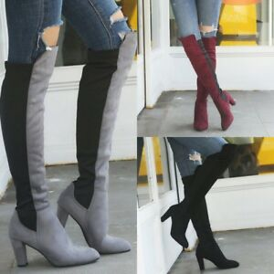 Womens-Ladies-Over-the-Knee-Block-High-Heel-Stretch-Leg-Thigh-High-Boot-Party