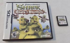 Nintendo-DS-Game-Cartridge-Shrek-Ogres-amp-Dronkeys-with-Case