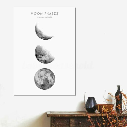 Black /& White Moon Canvas Painting Print Wall Art Oil Picture Home Bedroom Decor