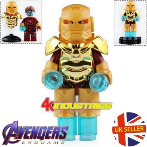 Avengers Iron Man LEGO si adatta Mini figura MK Oro Armour MARVEL END GAME UK Venditore