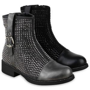 Klassische-Damen-Stiefeletten-Gefutterte-Biker-Boots-Strass-825588-Schuhe