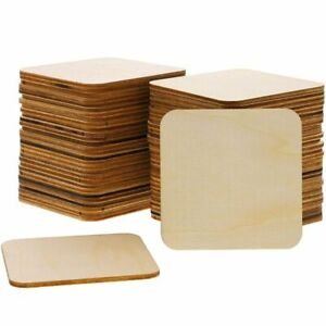 Bright Creations 60-Pack Unfinished Wood Square Cutout Pieces for DIY, 3 Inches
