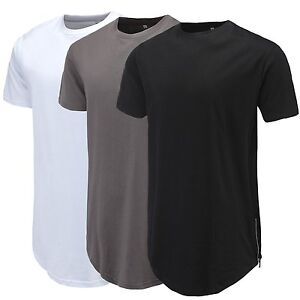 8b0aa1ebde0 Curve Hem Men T-Shirt Side With Zipper Short Sleeve Men Long line ...