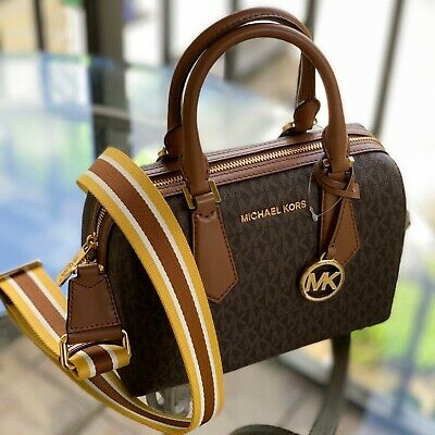 Michael Kors Women Small Crossbody Pvc Leather Bag Satchel Handbag Brown Gold Mk 192877733041 Ebay