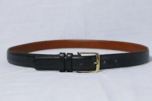 Coach-5800-Men-039-s-Black-Burnished-Cowhide-Leather-Belt-Brass-Buckle-sz-42