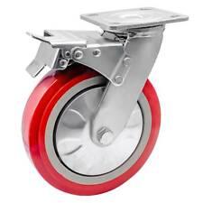1 Pack 8 Heavy Duty Caster Wheel Swivel Plate Maroon Pu With Brake Wheels