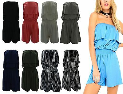Womens Polka Dot Frill Ruffle Boobtube Playsuit Ladies Strapless Short Jumpsuit