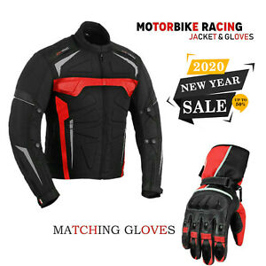 Men-039-s-Motorbike-Motorcycle-Waterproof-Cordura-Jacket-Coat-Leather-Gloves-Armour