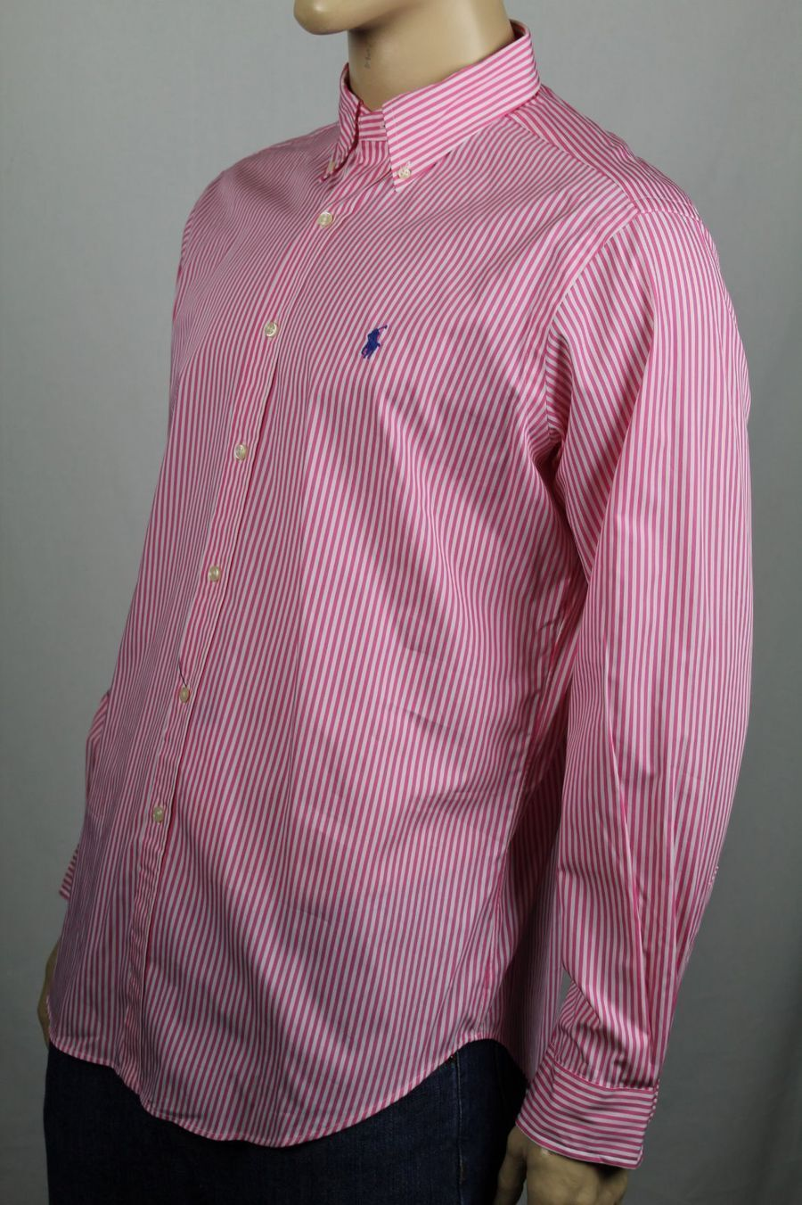 Ralph Lauren Pink White Striped Classic Dress Shirt bluee Pony NWT