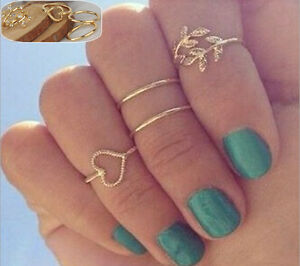 Crystal-Charming-Ring-Above-Knuckle-Ring-Band-Rings-Urban-Gold-Plated-4PCS-Set