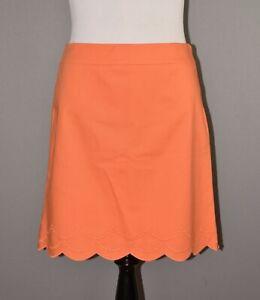 TALBOTS-NEW-70-Orange-Embroidered-Scalloped-Hem-A-line-Skirt-Size-12