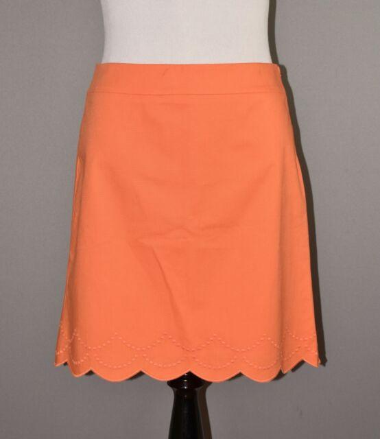 TALBOTS NEW $70 Orange Embroidered Scalloped Hem A-line Skirt Size 12