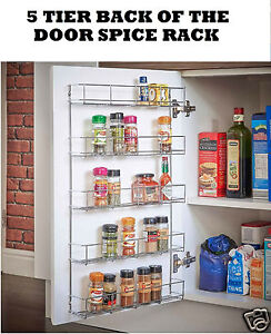 Spice-Herb-Jar-Rack-5-Tier-Holder-Kitchen-Stand-Door-Cupboard-Wall-Storage-Unit