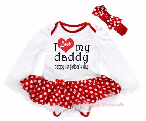Love Daddy Happy 1ST Father Day White L//S Bodysuit Minnie Dots Baby Dress NB-18M