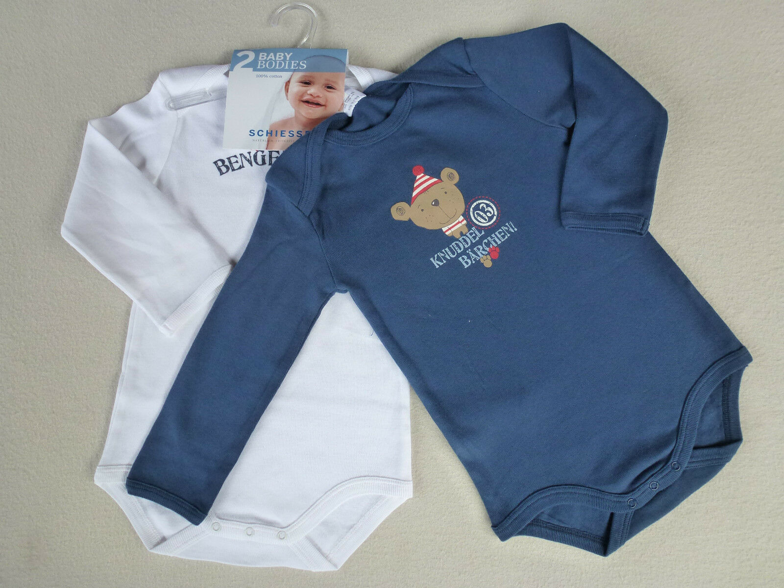 SCHIESSER Baby Body Sprüche Doppelpack Gr 62-104 Bodies Langarm 100/% BW NEU