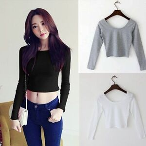 New-Fashion-Sexy-Women-Summer-Long-Sleeve-Camisole-Casual-Blouse-Crop-Top-Shirt