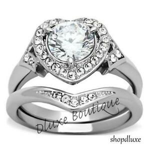 2-75-Ct-Halo-Round-Cut-AAA-CZ-Stainless-Steel-Wedding-Ring-Set-Women-039-s-Size-5-11
